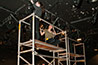 <p>Students in the early stage of hanging the lights for <em>Radium Now</em>.</p>