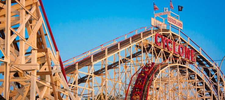 Ride the landmark Cyclone roller coaster.