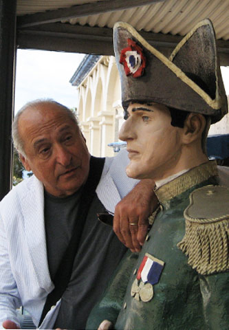Anthony Mancini and a faux Napoleon at the Jamestown Hotel, St. Helena.