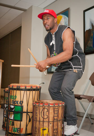 Special guest David Williams on a set of African drums.