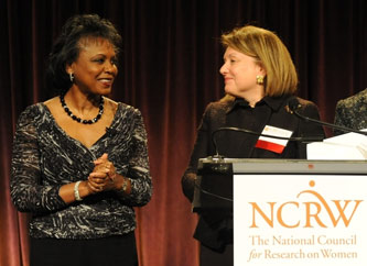 Anita Hill (left) and Marge Magner '69
