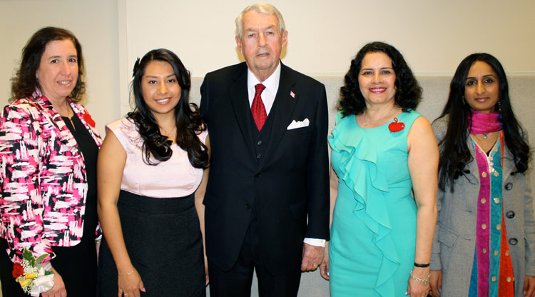 Brooklyn College alumnae and 2012 Extraordinary Women (from left) Joyce Verderosa, Matilde Pedrero, Sonia Valentin Fernandez and Rukhsana Liaqat with Kings County District Attorney Charles Hynes.
