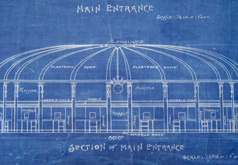 Blueprint of the main entrance to Ebbets Field, filed in 1912 by Dodgers president Charles H. Ebbets and architect Clarence R. Van Buskirk.