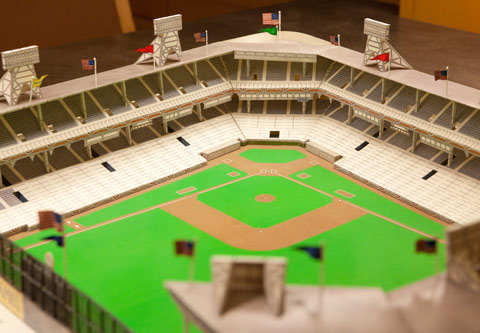 Model shows Ebbets Field as it was during the heyday of Brooklyn Dodgers baseball.