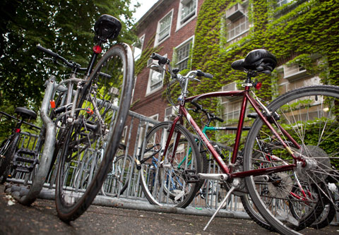 Bike racks have been expanded to allow more students, faculty and staffers to cycle to campus.