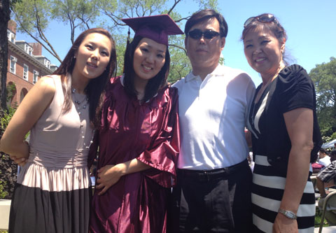 Jin Lee '12, with her sister, who lives in New York, and parents, who came for Commencement Exercises from Seoul.