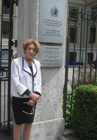 Gertrud Lenzer at the U.N. Office of the High Commissioner for Human Rights in Geneva.
