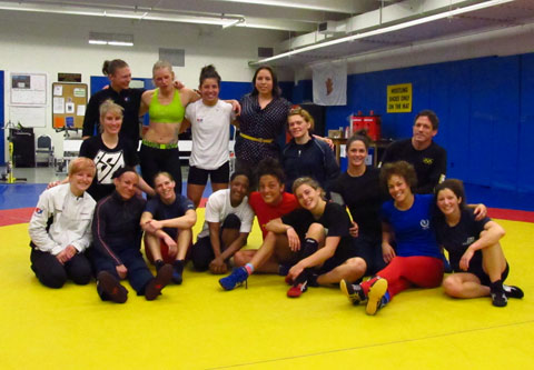 Kane-Lee with Olympic hopefuls in Colorado.