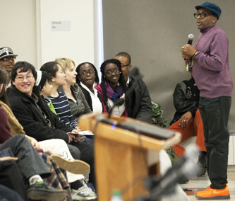 "At the Brooklyn College Student Center, movie director Spike Lee takes questions from students after his keynote address at the ""Race and Performance"" conference organized by the Africana Studies Department."