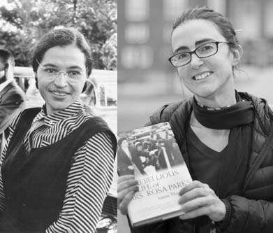 From left: Rosa Parks in Alabama; Jeanne Theoharis, author of the first scholarly biography of the civil rights icon.