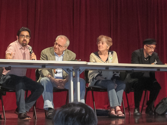 Opening plenary at the 2013 LAWCHA Conference. From left: Saket Soni, Richard Wolff, Frances Fox Piven, Bill Fletcher, Jr.