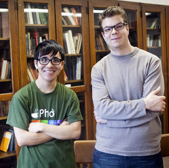 Poets Ocean Vuong (left) and Ben Lerner at the Costas Library.