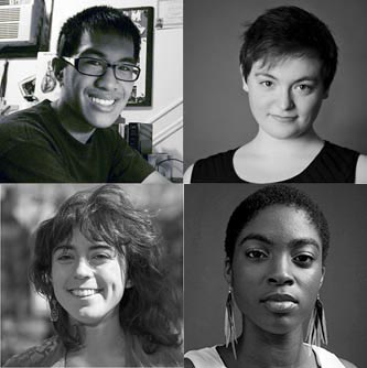 Clockwise from top right: Rosen Fellows Amy Gijsbers van Wijk, Sitrat Bassey, Emma Rock, and Geoffrey Mercene.