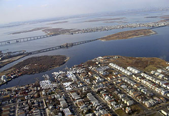 An aerial view of Jamaica Bay highlights how surrounding neighborhoods are impacted by the condition of the bay and reliant on its fortification.