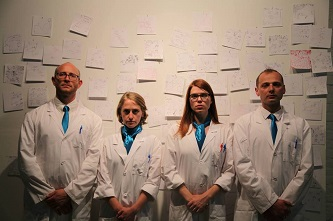 The doctors are in; let the experiments begin! Institute for Psychogeographic Adventure's Andrew Goldberg, Emily Rea, Liza Wade Green, and Radoslaw Konopka.