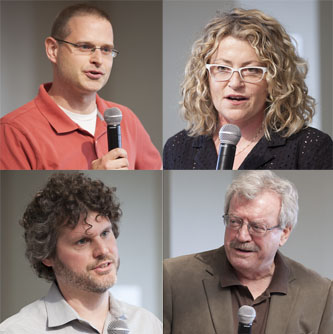 Clockwise from the top left: Professors Aaron Kozbelt, Patricia Cronin, Luigi Bonaffini, and Jason Eckardt were each awarded a Tow Professorship to continue their projects.