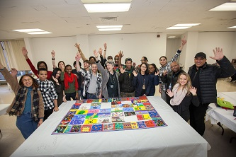 <p>Professor Sharona Levy (center) and the students and faculty of BC Bound with the
