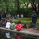 On May 15, the campus community was treated to performances by up-and-coming student poets and musicians at the Poetry at the Pond event, held near the college's picturesque lily pond.