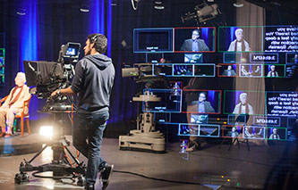 <p>Broadcast journalism and television production students will be able to use advanced production techniques in the state-of-the-art TV Center.</p>