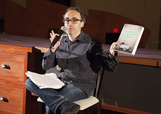 Gary Shteyngart talks to students in The Whitman Auditorium for a First Year Common Reading event.