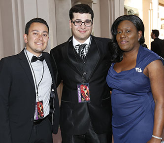 <p>From left, Michael Gomez, Anthony Tart, and Nickesha Johnson at the College Television Awards in Los Angeles. </p>