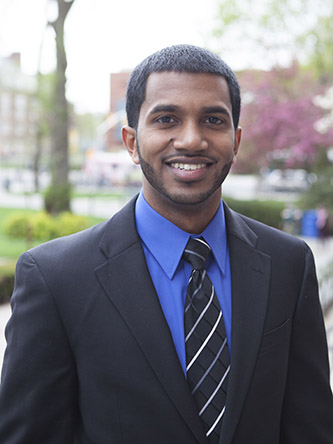 <p>Joshua V. Kurian '15 credits his family and the college with inspiring him to help those in need.</p>