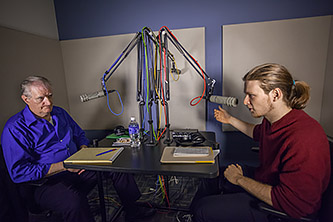 <p>Sophomore Ben Cohn, right, interviews Vietnam veteran Michael O'Brien, '79, at the Brooklyn College radio station. </p>
