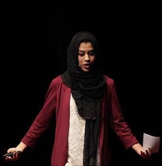 <p>Sofia Ahsanuddin talks about microbial life on the subway at the TEDxCUNY conference.</p>