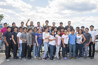 <p>The students from the Mexican state of Puebla were excited to head down to Battery Park and catch a glimpse of the Statue of Liberty (just out of view) and embrace its message of inclusion.</p>