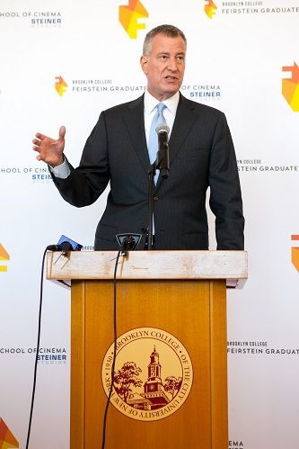 <p>New York City Mayor Bill de Blasio said that Brooklyn College's Barry R. Feirstein Graduate School of Cinema inaugural class contained New York's finest young filmmakers. </p>