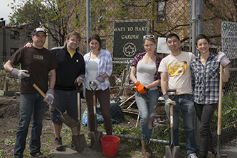 <p> From left to right: Andres Saldarriaga '12, Jonathan Russell-Anelli, Anna Minsky, Tatiana Morin, Zhongqi (Joshua) Cheng, and Sara Perl.</p> <p></p>
