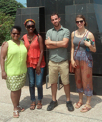 <p>Student participants, including Derek Norman, third from the left, in Brooklyn College's Summer Seminar in Ghana with the program's director Professor Lynda Day</p>