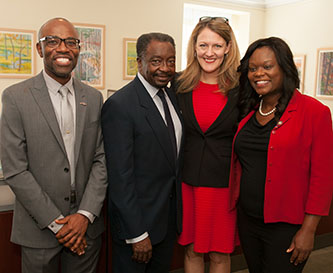 From left: Professor Jean Eddy Saint Paul, Assembly Member Nick Perry, Brooklyn College President Michelle J. Anderson, and Assembly Member Rodneyse Bichotte