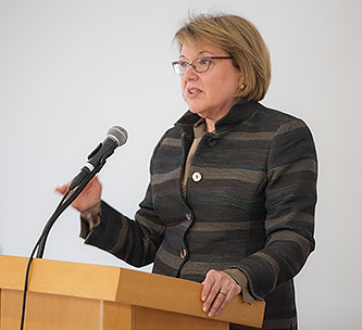 <p>Marge Magner '69 speaks to students during a Q&amp;A session at the all-day conference. </p>