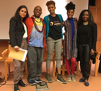 Dance Caribbean Collective town hall panelists, from left: Sita Frederic, Michael Manswell, founder Candace Thompson, Jessica Phoenix, and Valerie McLeod-Katz<br />