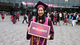 <p>Out in front of the Barclays Center, students were celebrating their milestone and documenting the celebration on social media using the hashtag #BCGrad2017, which trended on Twitter.</p>