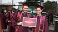 <p>Benjamin James Wiseman '17 (left) and Mikey Ruggiero '17 congratulate each other on their accomplishments.</p>