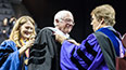 <p>Brooklyn College President Michelle J. Anderson and Provost and Senior Vice President for Academic Affairs William A. Tramontano present U.S. Senator for Vermont Bernie Sanders with the honorary degree, Doctor of Humane Letters.</p>