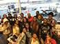 <p>BLMI faculty and students gather for a photo before their flight to Jamaica. Senior Gabrielle Powell is seen toward the back, in the blue t-shirt, third from the right.</p>