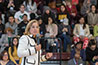 <p>San Juan, Puerto Rico Mayor Carmen Yul&iacute;n Cruz Soto addresses the crowd at the West Quad Center gymnasium.</p>