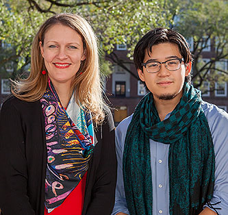 <p>Peter Lee with Brooklyn College President Michelle J. Anderson </p>
