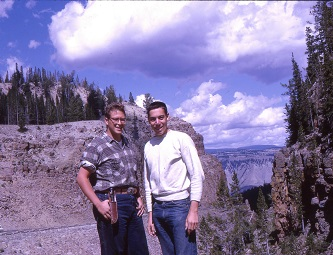 <p>Birnbaum (right) in the summer of 1964, after graduating from Brooklyn College. He and a friend pose just outside of Yellowstone National Park during a cross-country trip.</p>