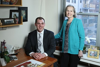 <p>Senior John Morrison (left) says the generosity and dedication of alumni and donors like Brooklyn College Foundation trustee Lorraine Laighold '64 (right), will make it possible for him to excel in his chosen field post-graduation. </p>