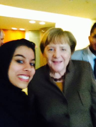 <p>Ahsanuddin in Berlin with German Chancellor Angela Merkel. </p>