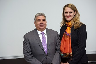 <p>Brooklyn College President Michelle J. Anderson (right) and Acting District Attorney for Brooklyn Eric Gonzalez share a commitment to creating safer campus spaces. </p>