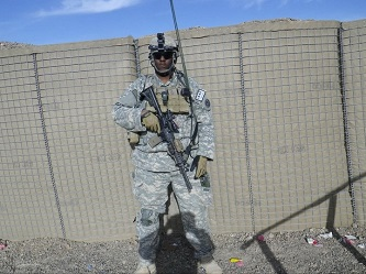 <p>Senior and political science major Isiah James during his 12-month, third deployment in Maiwand, Afghanistan, as a member of the Headquarters and Headquarters Company, 3rd Squadron, 2nd Cavalry Regiment.</p>
