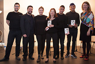 <p>President Michelle Anderson (at right) with author Pam Laskin (center) and cast of <em>Ronit &amp; Jamil.</em></p>
