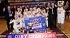 <p>Bulldogs flanked by Buster, President Michelle J. Anderson, Coach Alex Lang and Athletics Director Bruce Filosa.</p>