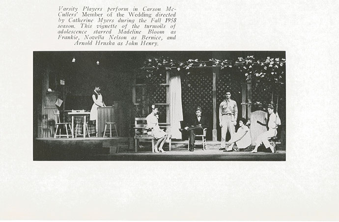 A page from the 1958<em> Broeklundian</em> yearbook shows  student Novella Nelson as Bernice in a Brooklyn College production of Carson McCullers' <em>The Member of the Wedding</em>.
