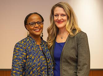<p>Robert L. Hess Scholar-in-Residence Edwidge Danticat with President Michelle J. Anderson</p>